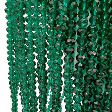 72 pcs x 8mm Faceted Glass Rondelle Emerald Green 025